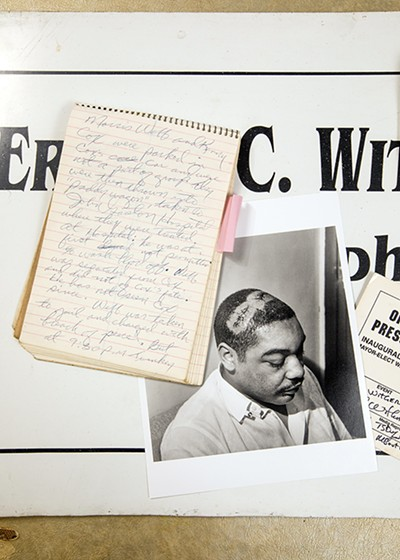 A reporter's notebook, found in the Withers archives, details the beating of Morris Webb on March 28, 1968, alongside Withers' image of Webb from that day. - JUSTIN FOX BURKS