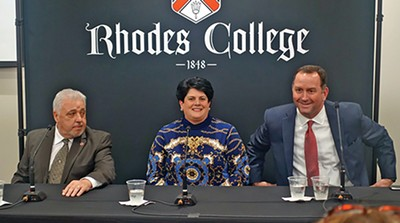 Republican mayoral candidates - Left to right: Terry Roland, Joy Touliatos, - and David Lenoir at Rhodes College forum