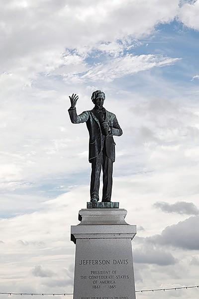 The now-gone statue of Jefferson Davis in Memphis Park. - JUSTIN FOX BURKS