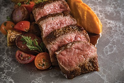 Local Beef Cut with carrot puree