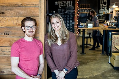Daniel Lynn (left) and Rachel Williams, organizers of the Grind City Coffee Expo - PHOTOGRAPHS BY JUSTIN FOX BURKS