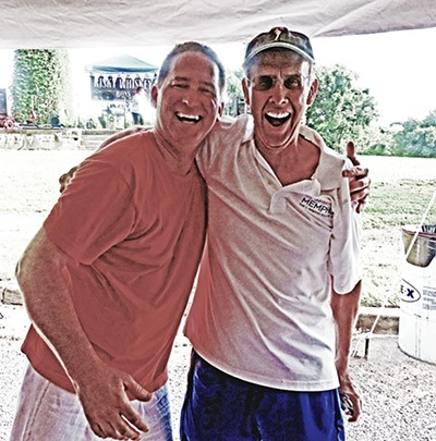 """Host David Pool (l) welcomes former Judge Robert L. """"Butch"""" Childers to his weekend event. - JACKSON BAKER"""