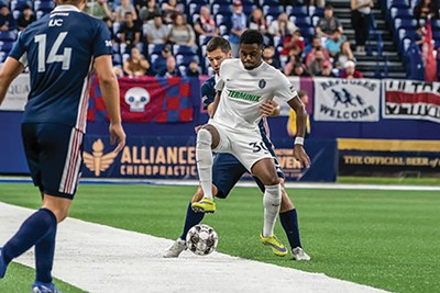 Marcus Epps picked up the - offensive slack on a night when - 901 FC's attack misfired. - 901FC