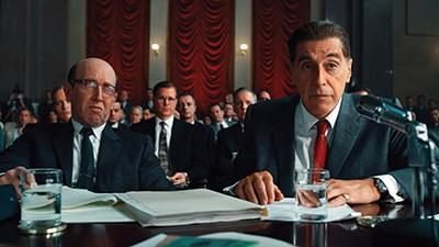 Al Pacino (right) plays Jimmy Hoffa in Martin Scorsese's newest mob movie, The Irishman.