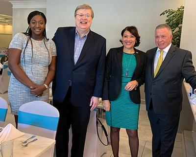Bloomberg quartet — State Rep. London Lamar, Mayor Jim Strickland, Karen Weaver of Flint, Michigan, and Harold Ford Sr.