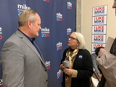 Bloomberg rep Tim O'Brien with Paula Barnes at a Memphis event