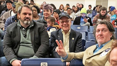 Among those gathered Saturday morning at Kirby High School for preliminary party caucuses before this summer's Democratic National Convention in Milwaukee were (l to r) Rick Maynard, U.S. Rep. Steve Cohen, and David Upton. - JACKSON BAKER