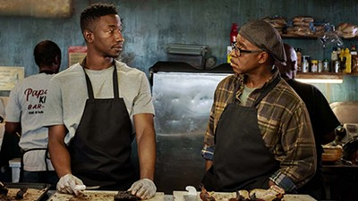 Mamoudou Athie (left) and Courtney B. Vance do Memphis barbecue justice in Uncorked.