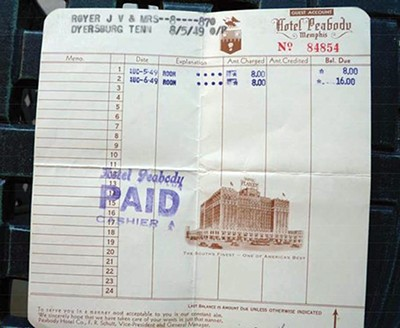 """Uncle Joe and Aunt Jean honeymooned at The Peabody, """"the South's Grand Hotel,"""" for a grand total of $16 for two nights."""