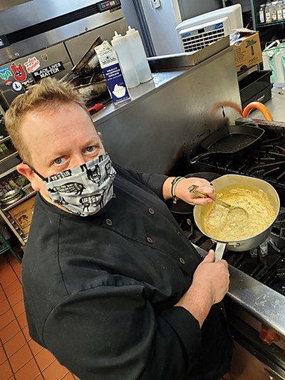 Rizzo's chef Michael Patrick serves his up cheeseburger soup.