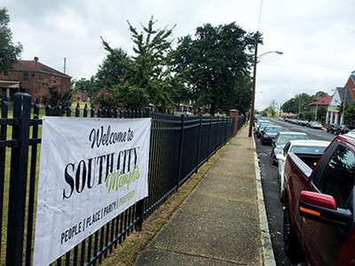 A sign for South City hangs on the gate of Foote Homes. - TOBY SELLS