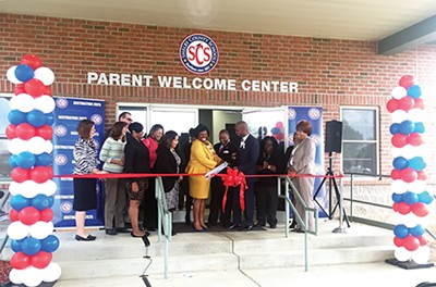 Shelby County Schools officials cut the ribbon at the center last week. - BIANCA PHILLIPS