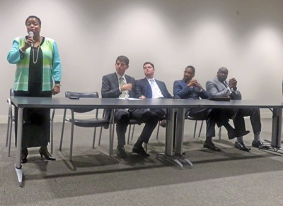Council runoff candidates at Hooks forum were (l to r) Jamita Swearengen (District 4); Worth Morgan and Dan Springer (District 5); and Anthony Anderson and Berlin Boyd (District 7) - JB