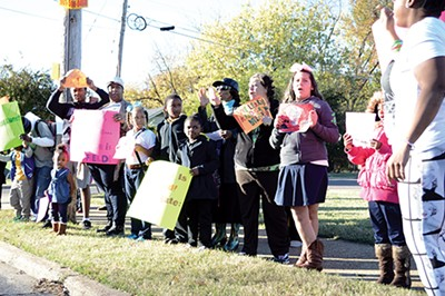 Protesters demonstrate against the ASD takeover of Sheffield Elementary.