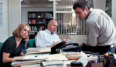 Rachel McAdams, Michael Keaton, and Mark Ruffalo in Spotlight