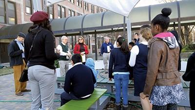 USDA's Ann Bartuska (in the red jacket) meets with Treadwell students. - ALEXANDRA PUSATERI