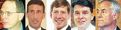 Five hopefuls: (from l) Flinn, Kustoff, Kelsey, Leatherwood, and Basar. - JACKSON BAKER