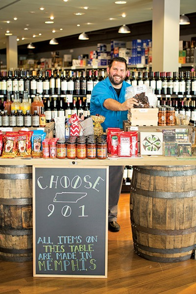Ryan Gill shows off - local products at Doc's.
