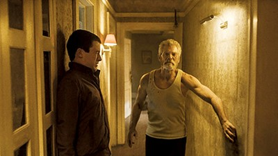 Dylan Minnette (left) and Stephen Lang in Fede Alvarez's Don't Breathe