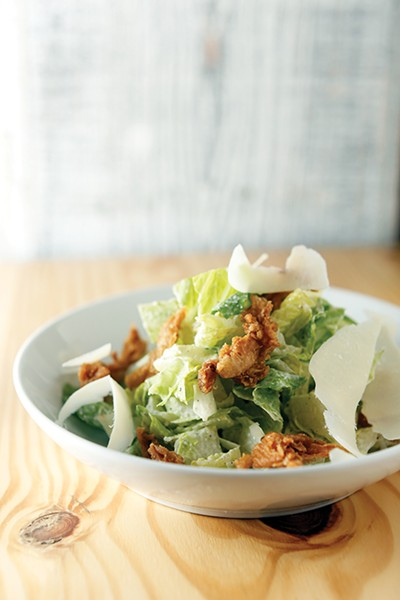 Romaine Salad with Chicken Skins at Hog & Hominy - JUSTIN FOX BURKS