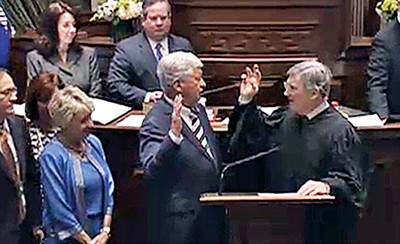 State Senator Randy McNally (R-Chattanooga) (center) was sworn in Monday as Tennessee's new Senate Speaker and Lieutenant Governor. - JACKSON BAKER