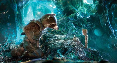 The Character Formerly Known As Rocket Raccoon (voiced by Bradley Cooper) and Baby Groot (voiced by Vin Diesel).