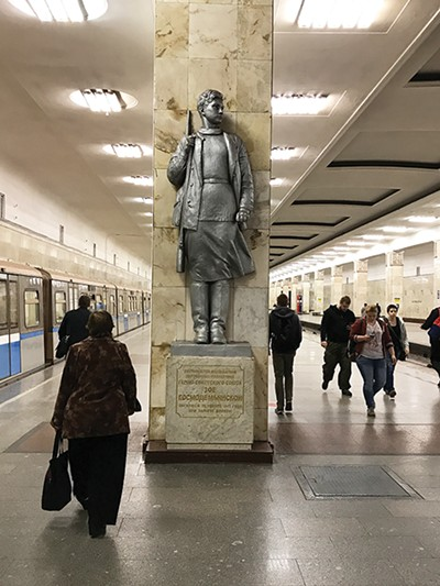 Statue in Partizanskaya station of an 18-year-old Russian partisan, killed in the Great Patriotic War (World War II)