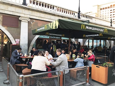 Russian diners in the McDonald's - at the entry to the Kremlin