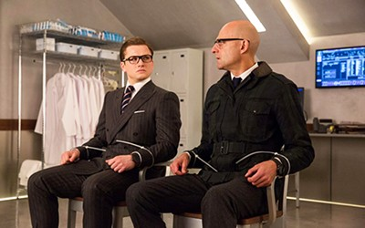Taron Egerton (left) and Mark Strong star in Kingsmen: The Golden Circle.