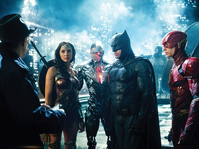 Justice League Dark: (left to right) J.K. Simmons, Gal Gadot, Ray Fisher, Ben Affleck, and Ezra Miller
