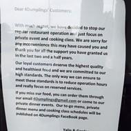 4 Dumplings Closed, more news