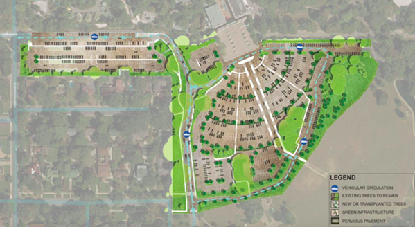 """Concept Z (above) got the most votes in a recent public survey for a new Memphis Zoo parking lot. The design above shows the """"ring road"""" that designers say will help traffic flow. - POWERS HILL DESIGN"""