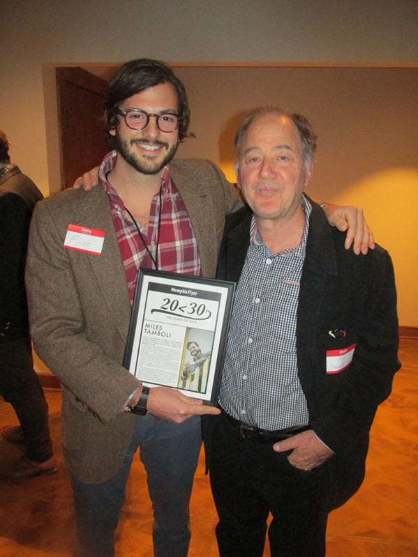 Miles Tamboli and his dad, Roy Tamboli, at 20 Under 30 reception - MICHAEL DONAHUE