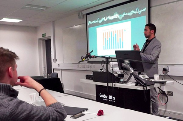 Gebre Waddell speaks at an audio developers conference in London.