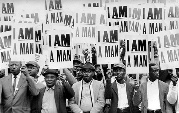 Sanitation workers marching in 1968
