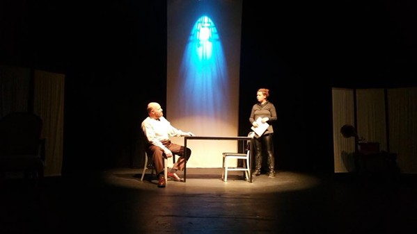 Sims v the Detective in The Nether onstage at the Evergreen Theatre.
