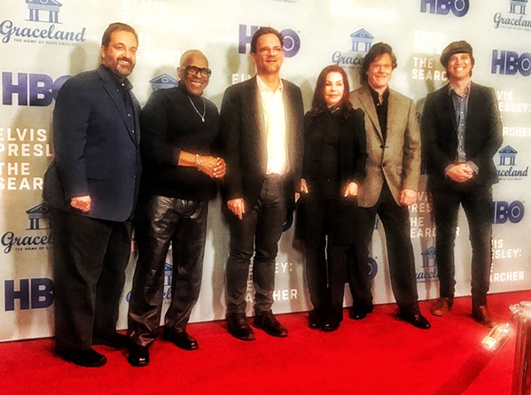 """On the red carpet at the screening of HBO's """"Elvis Presley: The Searcher"""" (from left): producer Kary Antholis, music producer David Porter, director Thom Zimny, executive producers Priscilla Presley and Jerry Schilling, and Sony music executive John Jackson. - JON SPARKS"""