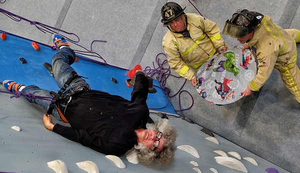 I didn't really need a safety net when I tried my hand - and feet - at clmbing at the Memphis Rox Climbing + Community facility. Firefighters Stephen Zachar and Jensen Pilant obliged. - BEN BAKER