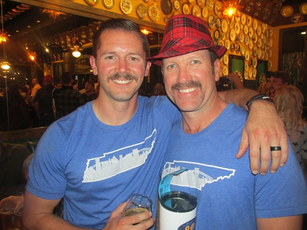 Jensen Pilant and Stephen Zachar at Mustache Bash. - MICHAEL DONAHUE