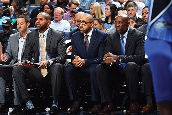 (left to right) J.B. Bickerstaff, Dave Fizdale, Keith Smart - JOE MURPHY (NBAE/GETTY IMAGES)