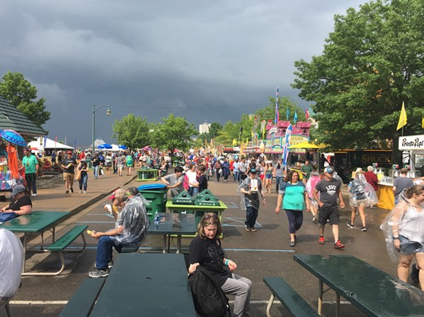 Storm clouds loom over Tom Lee Park. - LAURA JEAN HOCKING