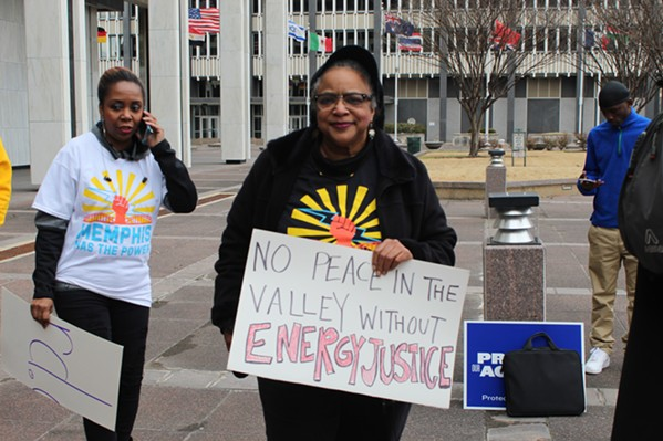 TVA CEO Bill Johnson's visit here this year drew protestors to Memphis City Hall. - MAYA SMITH