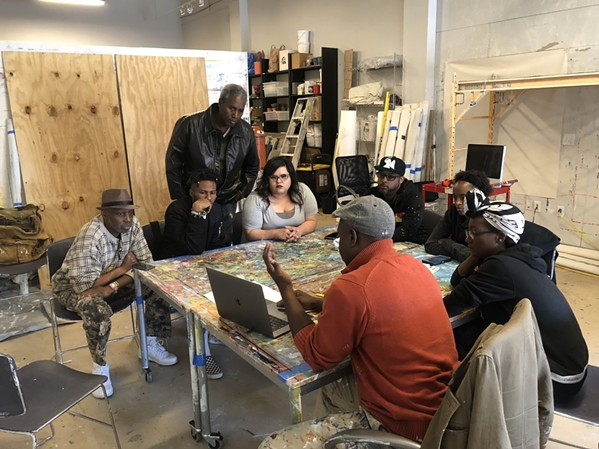 The artists work with Humphrey of MuralArts Philadelphia - URBANARTS COMMISSION