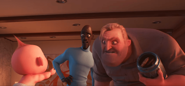 Frozone (Samuel L. Jackson, center) is called to help Mr. Incredible (Craig T. Nelson) parent the super toddler Jack-Jack.