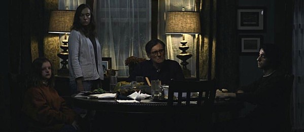 (left to right) Milly Shaprio, Toni Collette, Gabriel Byrne, and Alex Wolf as the not-so-happy family in Hereditary.