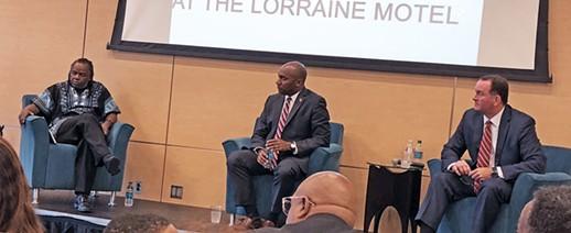 Moderator Ajanaku (l) and debaters Harris and Lenoir at Civil Rights Museum - JB