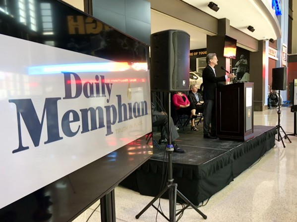 Eric Barnes, president/executive editor of The Daily Memphian, unveils details of the new online newspaper on Monday. - TOBY SELLS
