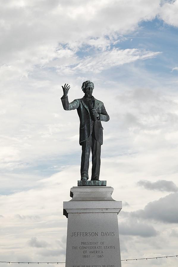 The statue of Jefferson Davis in a downtown park - JUSTIN FOX BURKS
