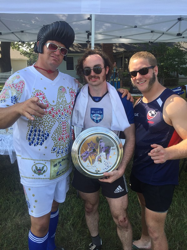 "August Stevens was the winner of the Mr. Sideburns contest at the Elvis 7s rugby tournament. With him are Damon ""Flash"" Boyce and John Elmore. - MICHAEL DONAHUE"