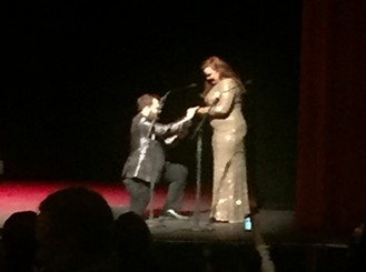Scene stealer! Yeah, it's a terrible, blurry photo, but it's the best shot I got of Chase Ring proposing to co-presenter Ellen Inghram on the Orpheum stage at the 2018 Ostrander Awards.
